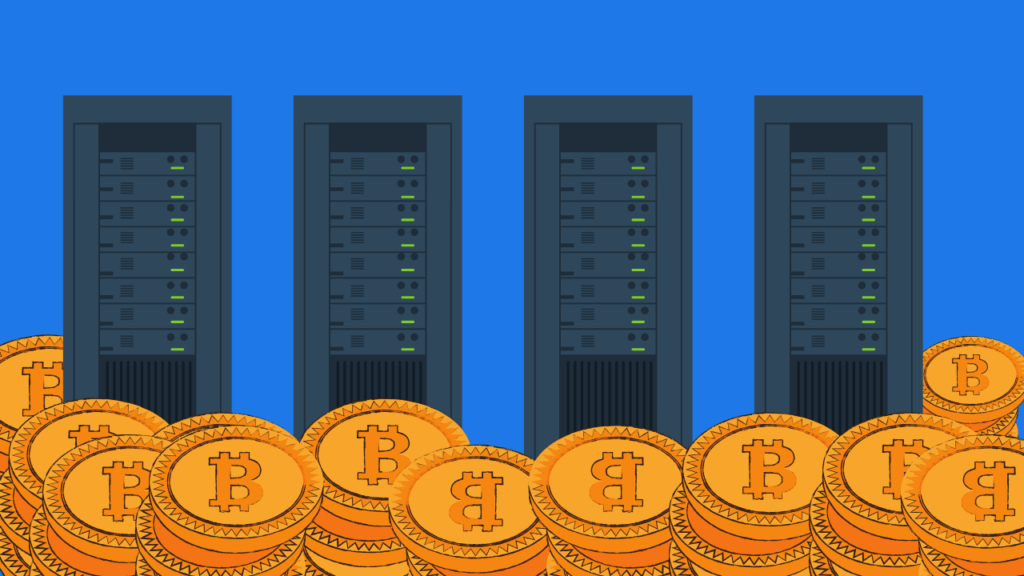 Datasenter Miner Bitcoin illustrasjon