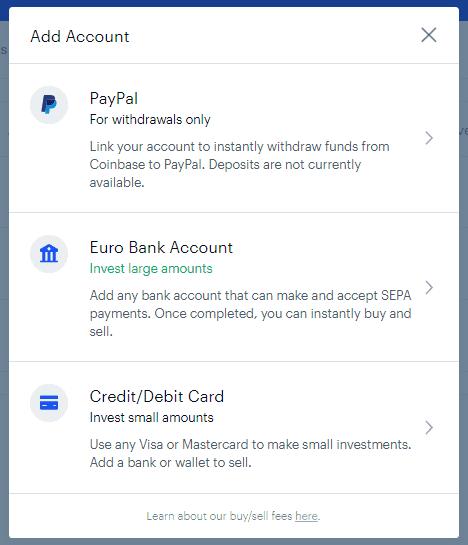 velg betalingsmåte kredittkort eller bankkort på coinbase