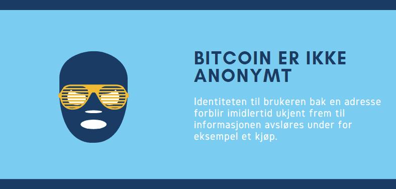 Bitcoin er ikke anonymt - illustrasjon med maske og tekst
